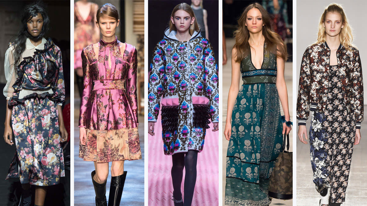From left to right: Simone Rocha, Erdem, Mary Katrantzou, Burberry Prorsum and Mother of Pearl
