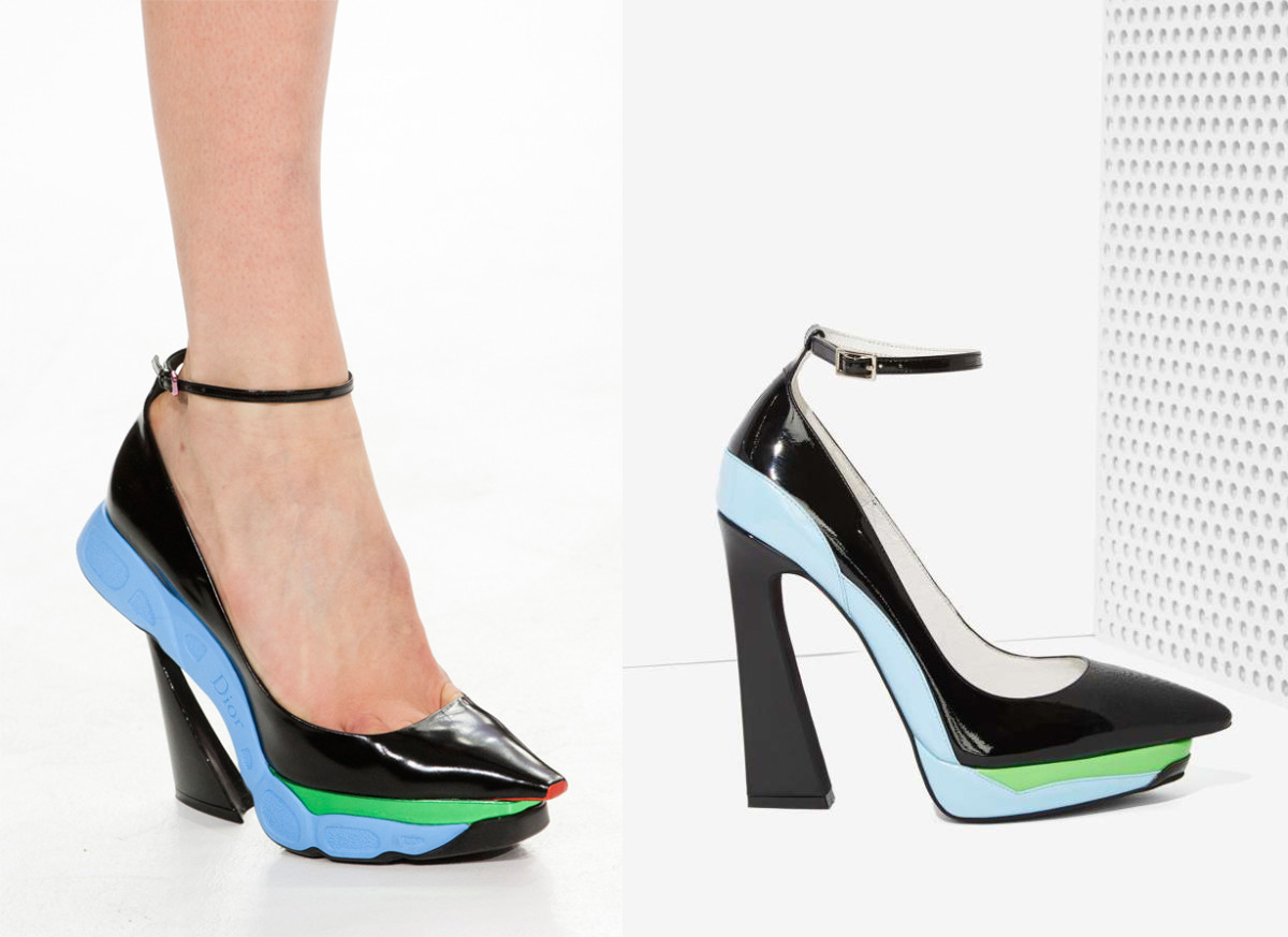 "On the left: Dior fall 2014 runway/Imaxtree; On the right: Jeffrey Campbell ""power cut leather heel""/Nasty Gal"