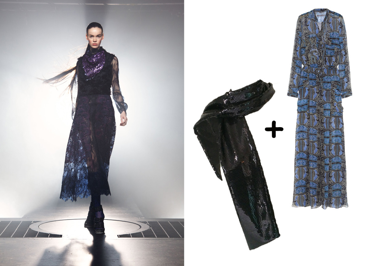 Sequin scarf, $45, available at Etsy; Maiyet dress, $752.50, available at The Outnet.