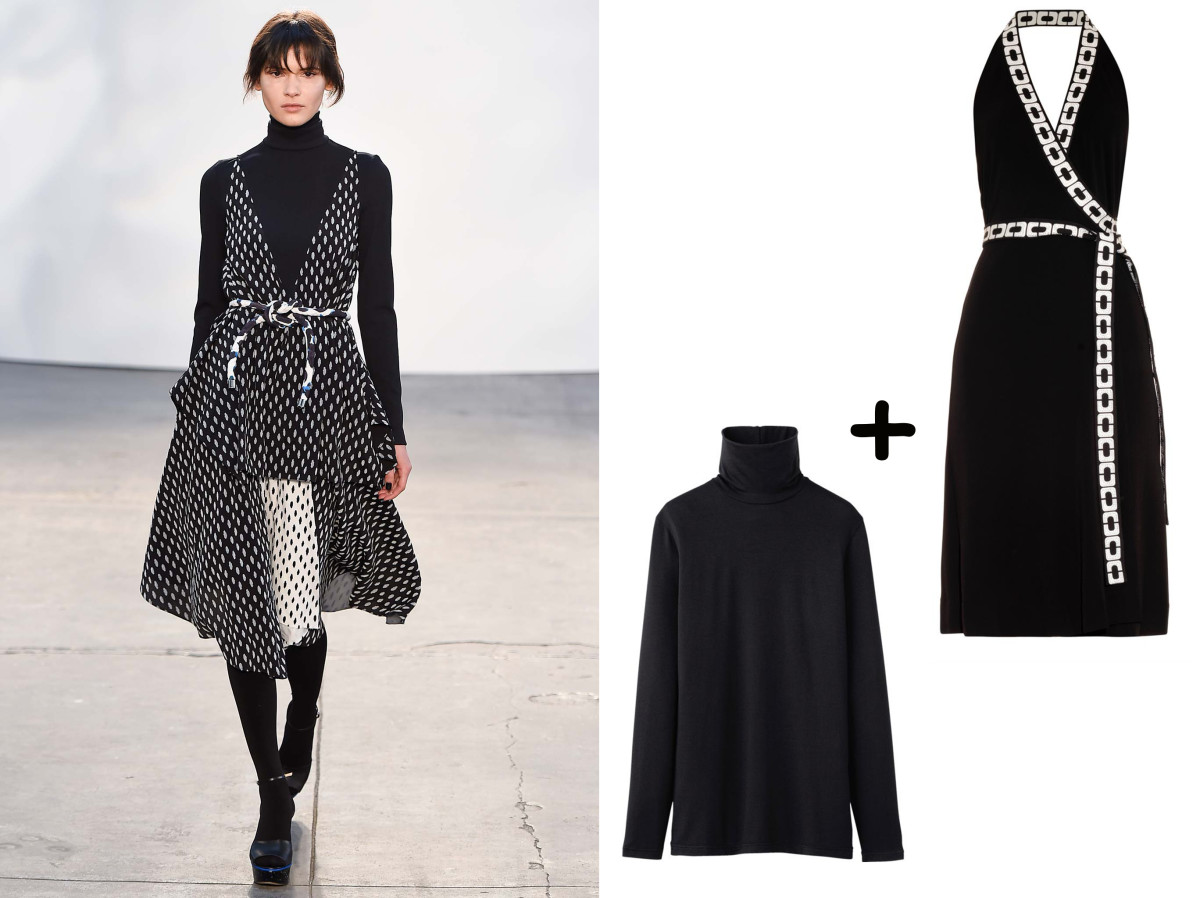 DVF dress, $548, available at Matches Fashion; Turtleneck, $7.90, available at Uniqlo.