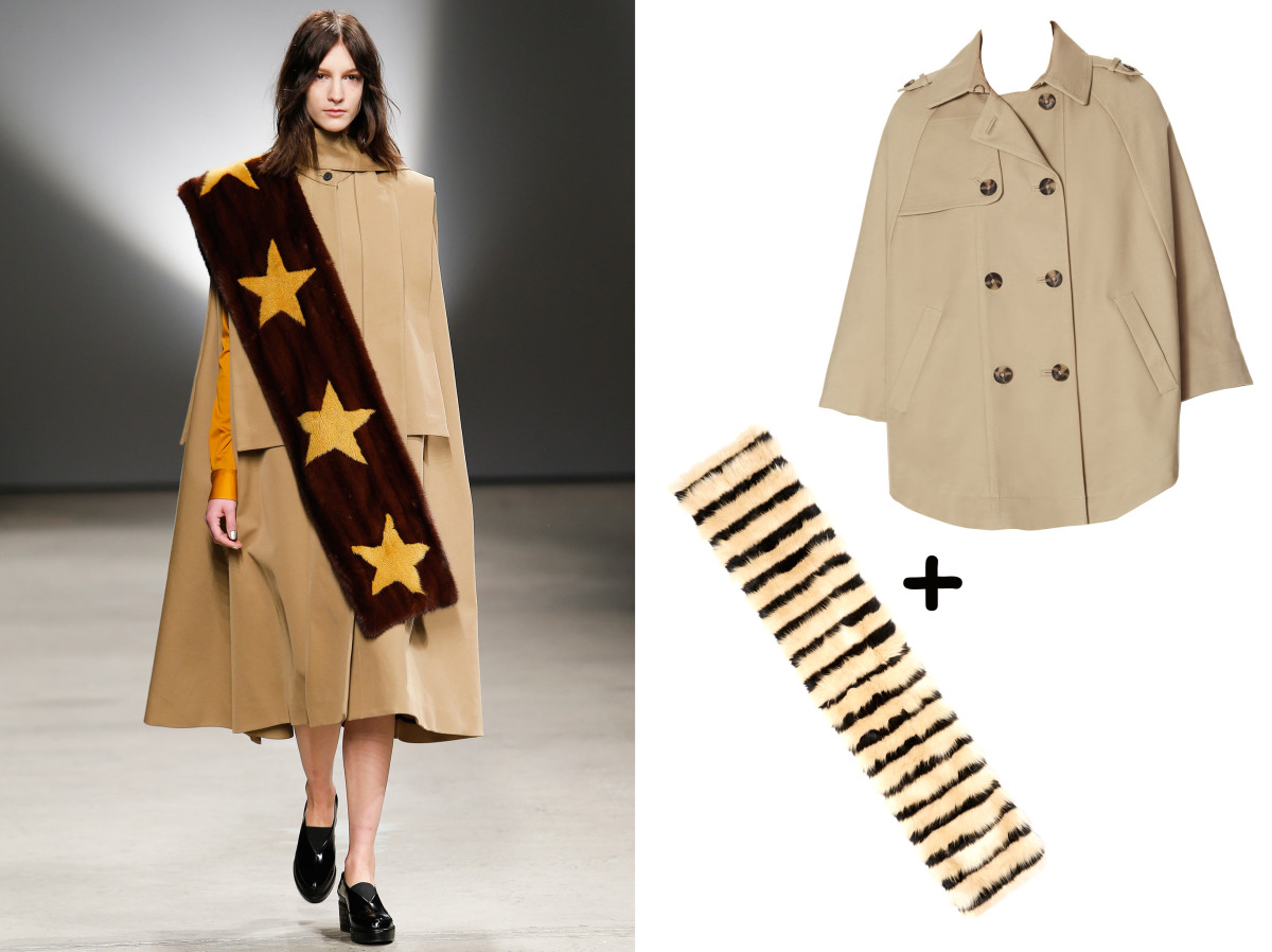 Fur collar, $28, available at ASOS;  Trench Cape, $178, available at The Limited.