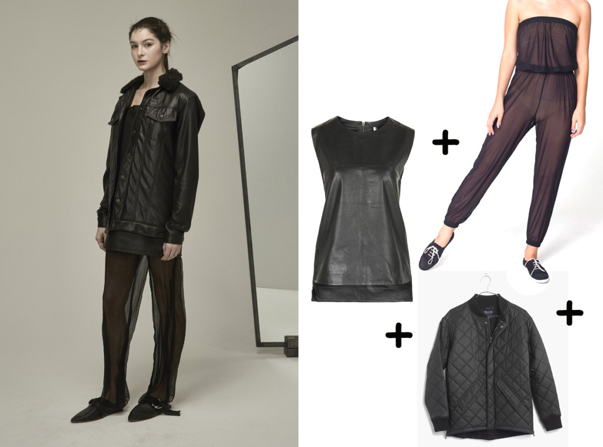 Leather tank, $150, available at Topshop; Jacket, $159.50, available at Madewell; Jumpsuit, $18, available at American Apparel.