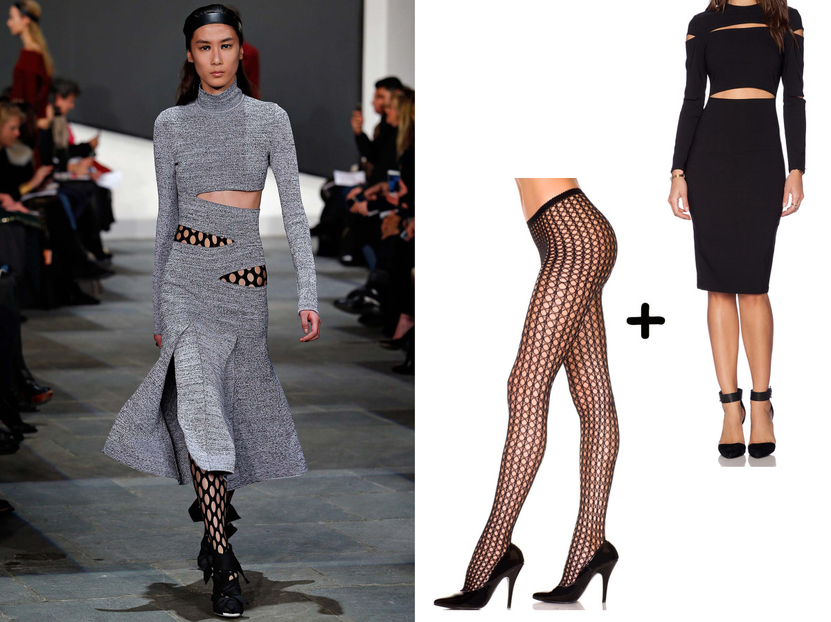 Tights, $3.14, available on Ebay; Dress, $193, available at Revolve.