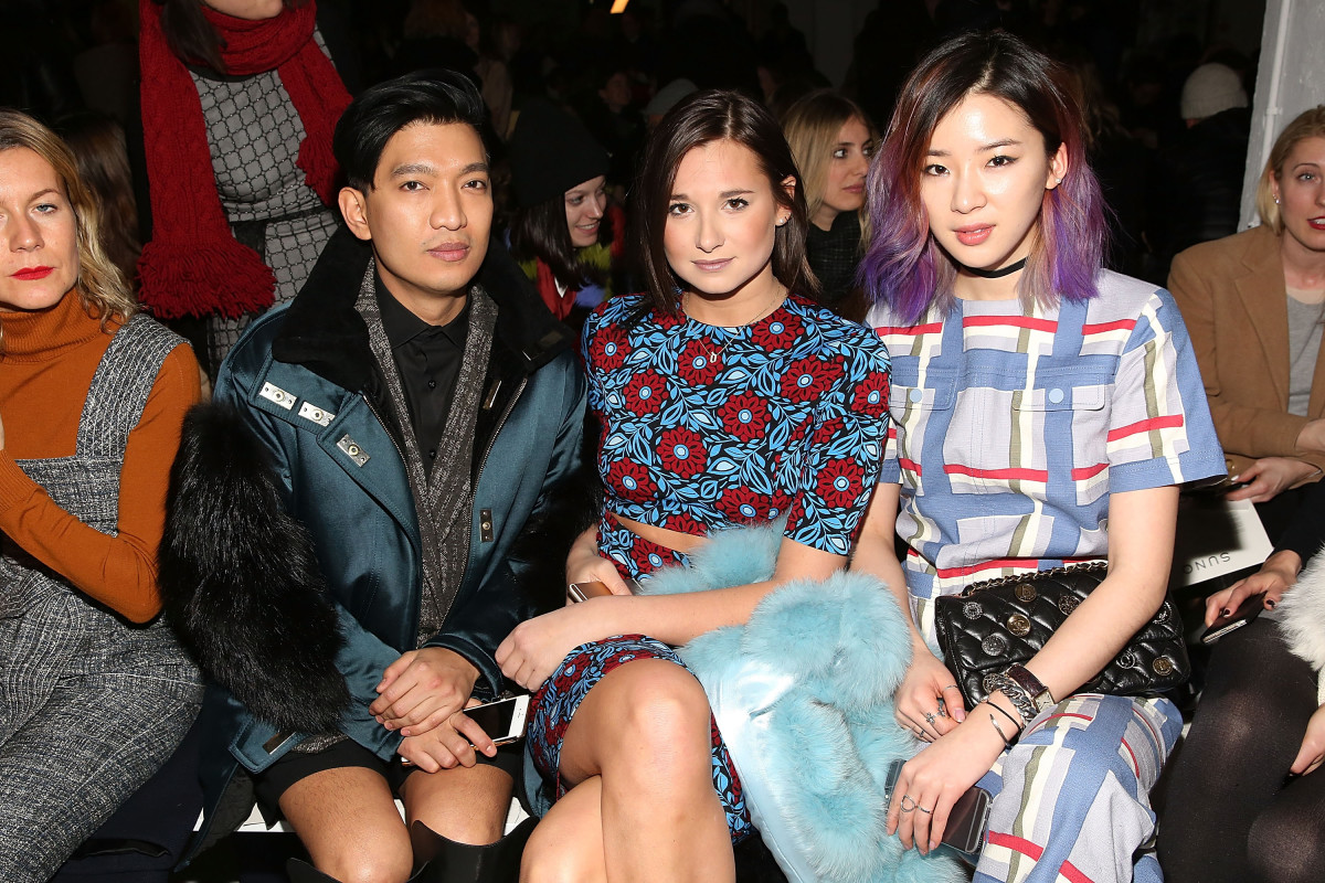 BryanBoy, Danielle Bernstein and Irene Kim at Fashion Week this February. Photo: Mireya Acierto/Getty Images