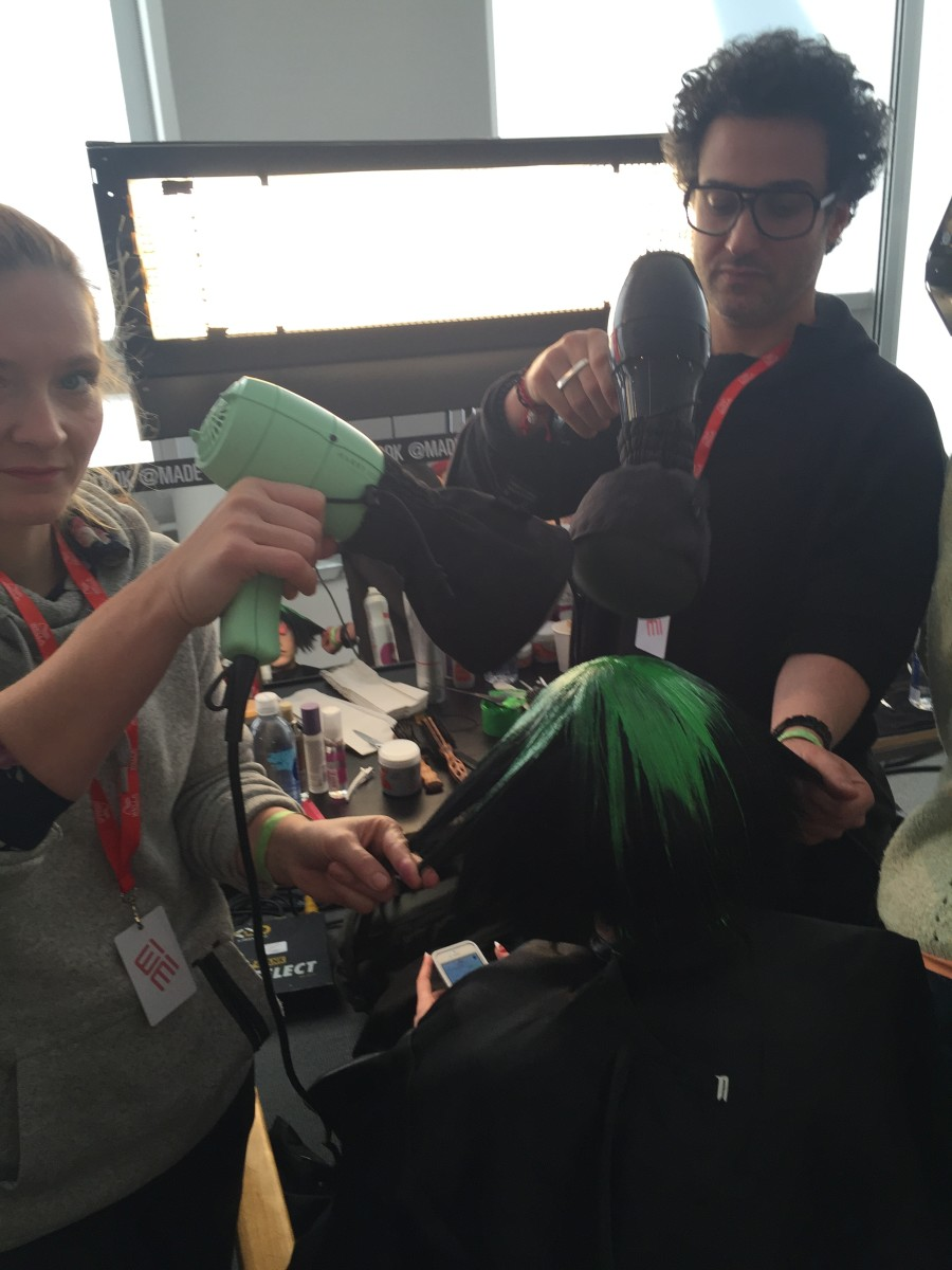 The diffuser in action backstage at the Jeremy Scott show. Photo: Cheryl Wischhover/Fashionista