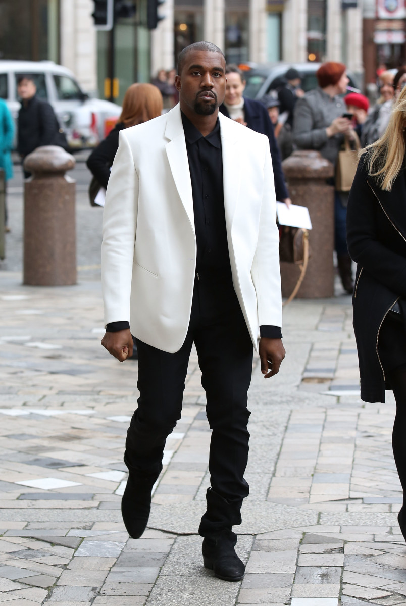 Kanye West attends the memorial service for Louise Wilson. Photo: Tim P. Whitby/Getty Images