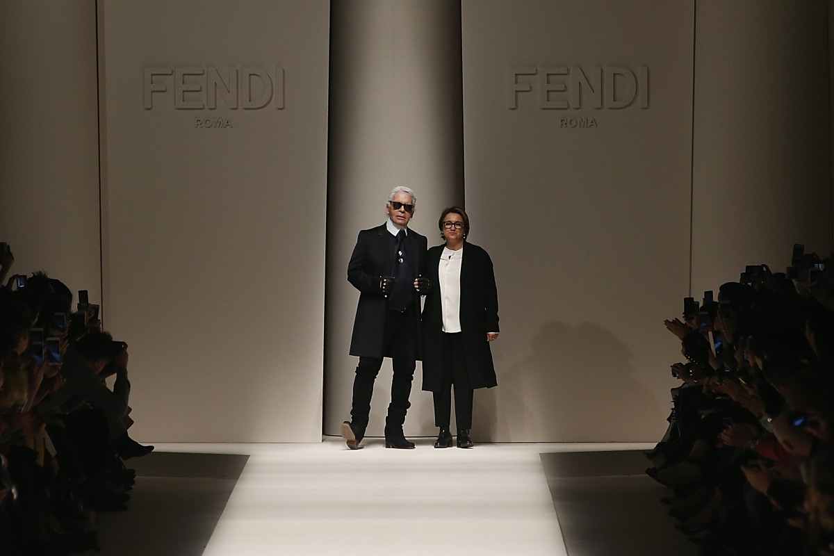 Karl Lagerfeld and Silvia Venturini during the Fendi show on February 26, 2015 in Milan, Italy. Photo: Andreas Rentz/Getty Images