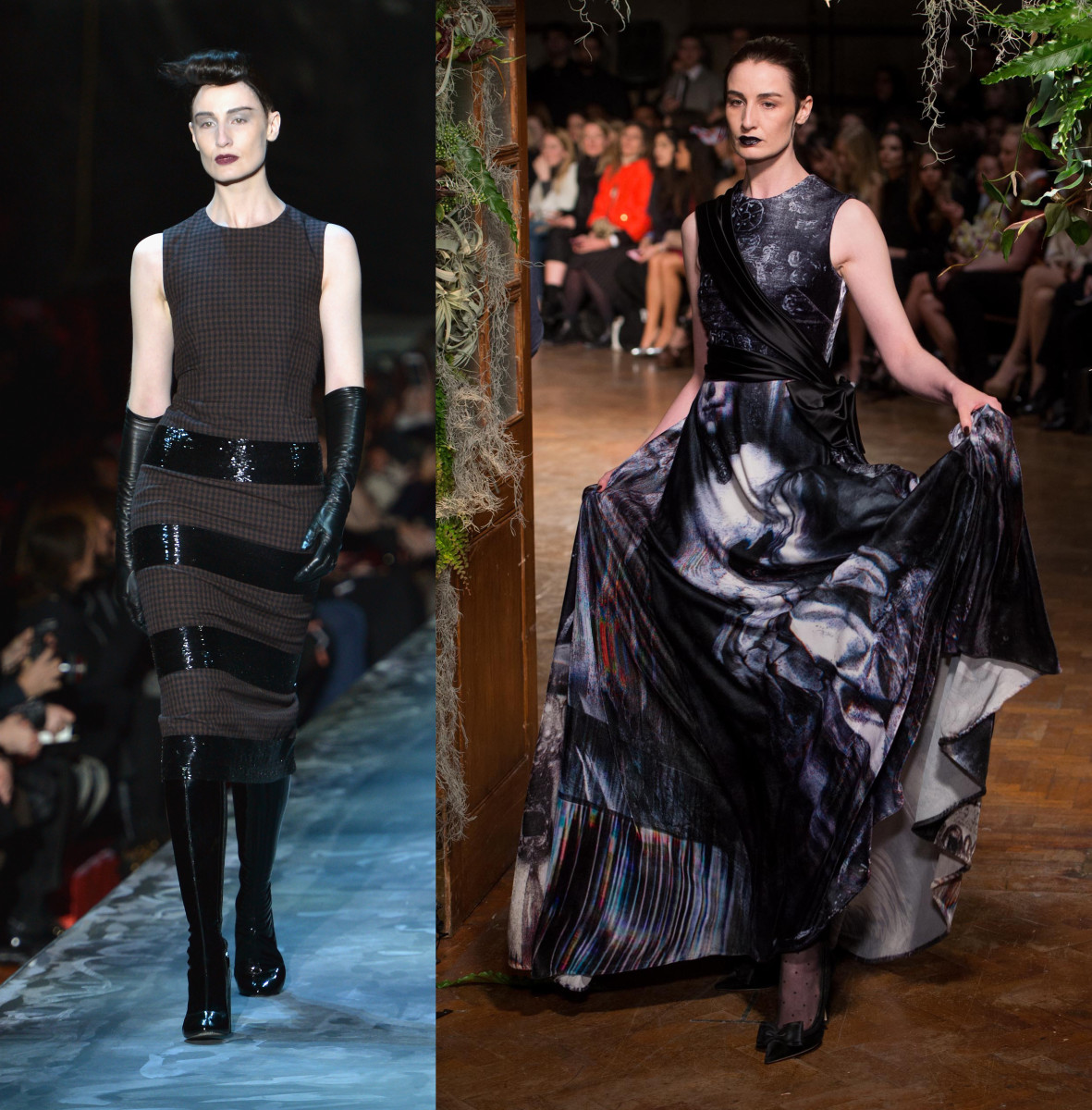 Erin O'Connor walking the runway for Marc Jacobs (left) and Giles (right). Photos: Slaven Vlasic/Getty Images and Ian Gavan/Getty Images