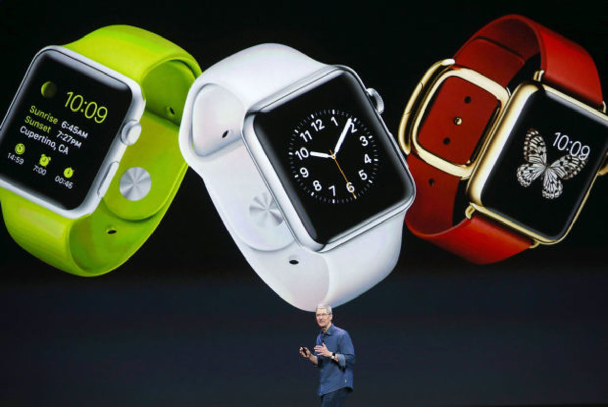 These are Apple Watches. Photo: Justin Sullivan/Getty Images