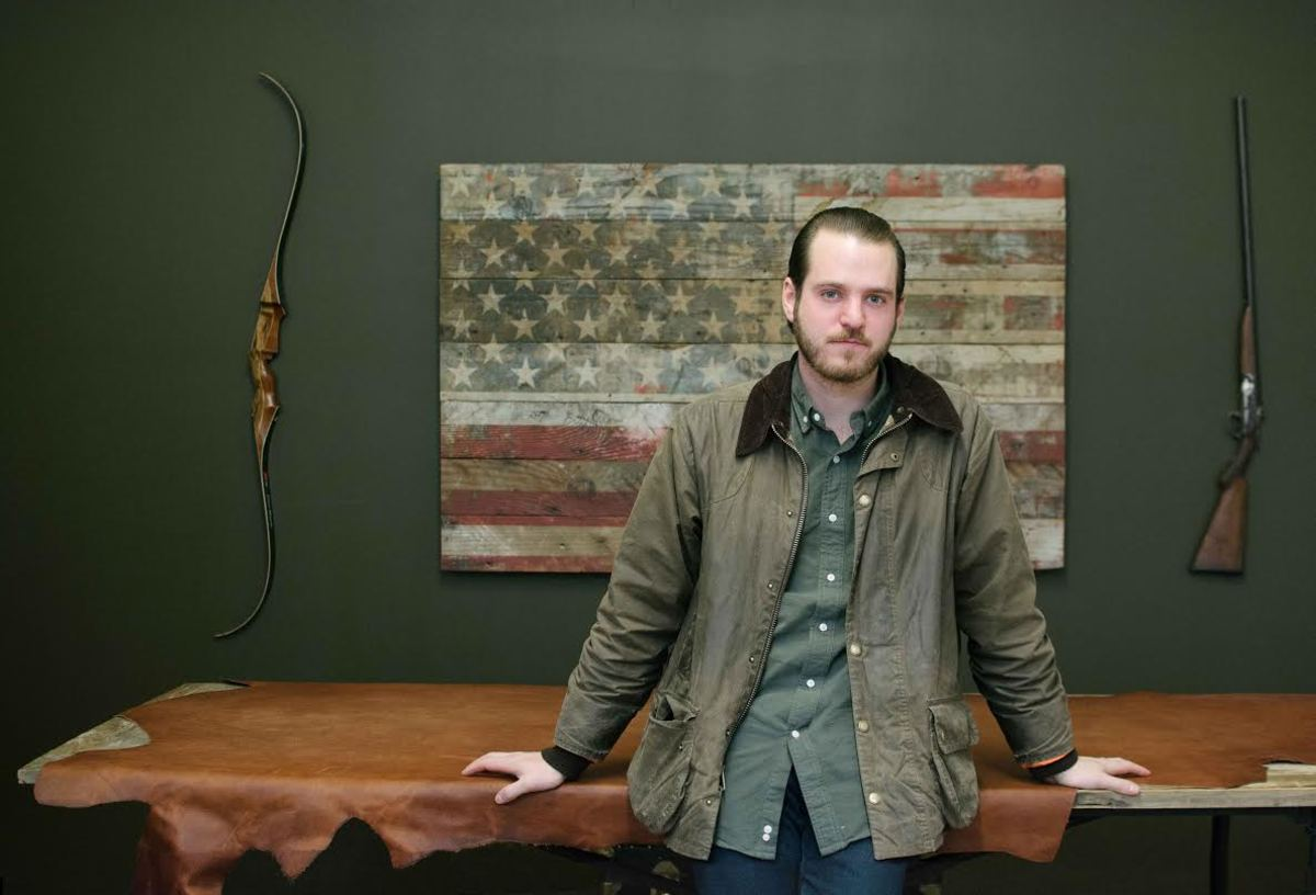 Ball and Buck CEO Mark Bollman in his very patriotic Industry City design warehouse space. Photo: Ball and Buck