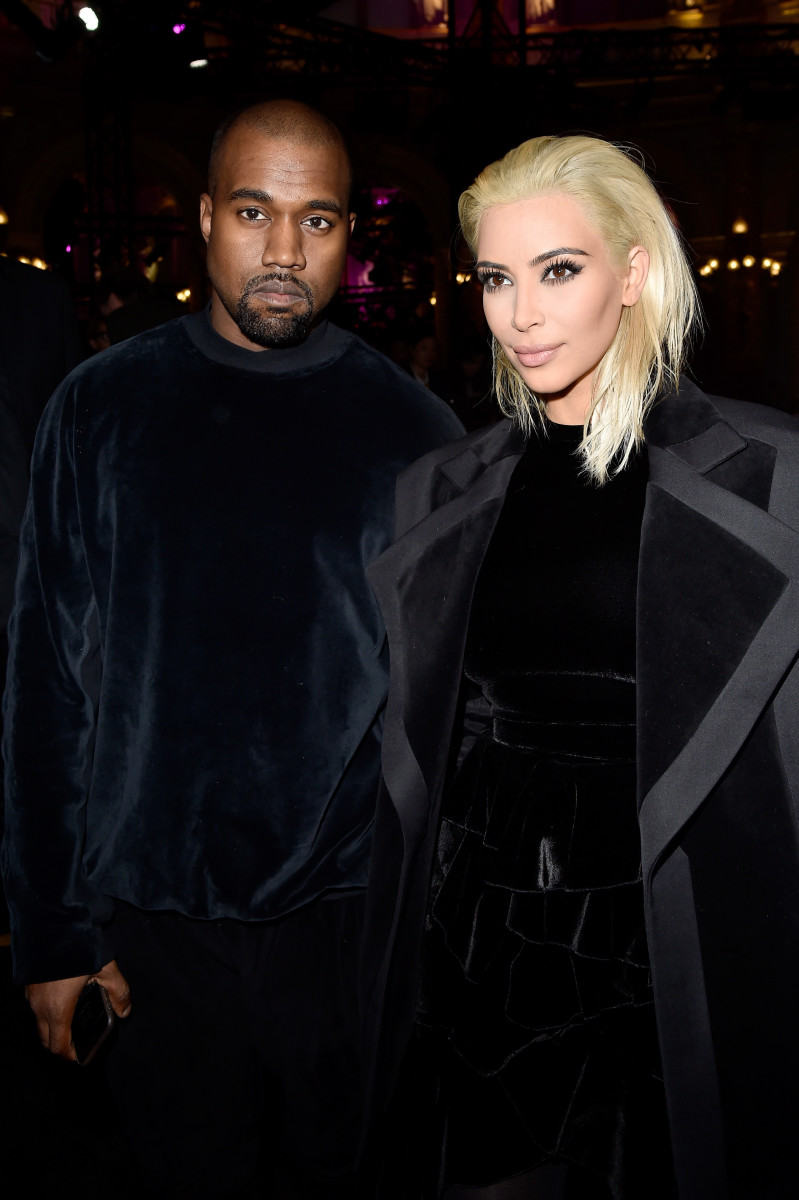 Kanye West and Kim Kardashian at Balmain. Photo: Pascal Le Segretain/Getty Images