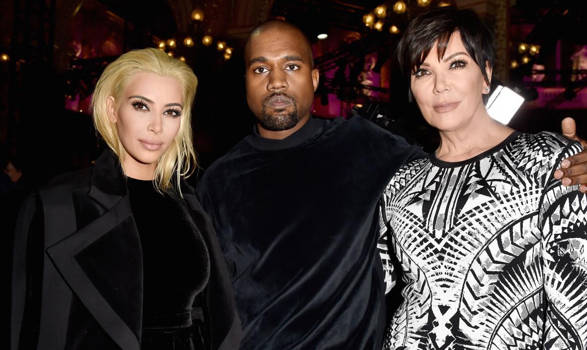Kim Kardashian, Kanye West and Kris Jenner. Photo: Pascal Le Segretain/Getty Images