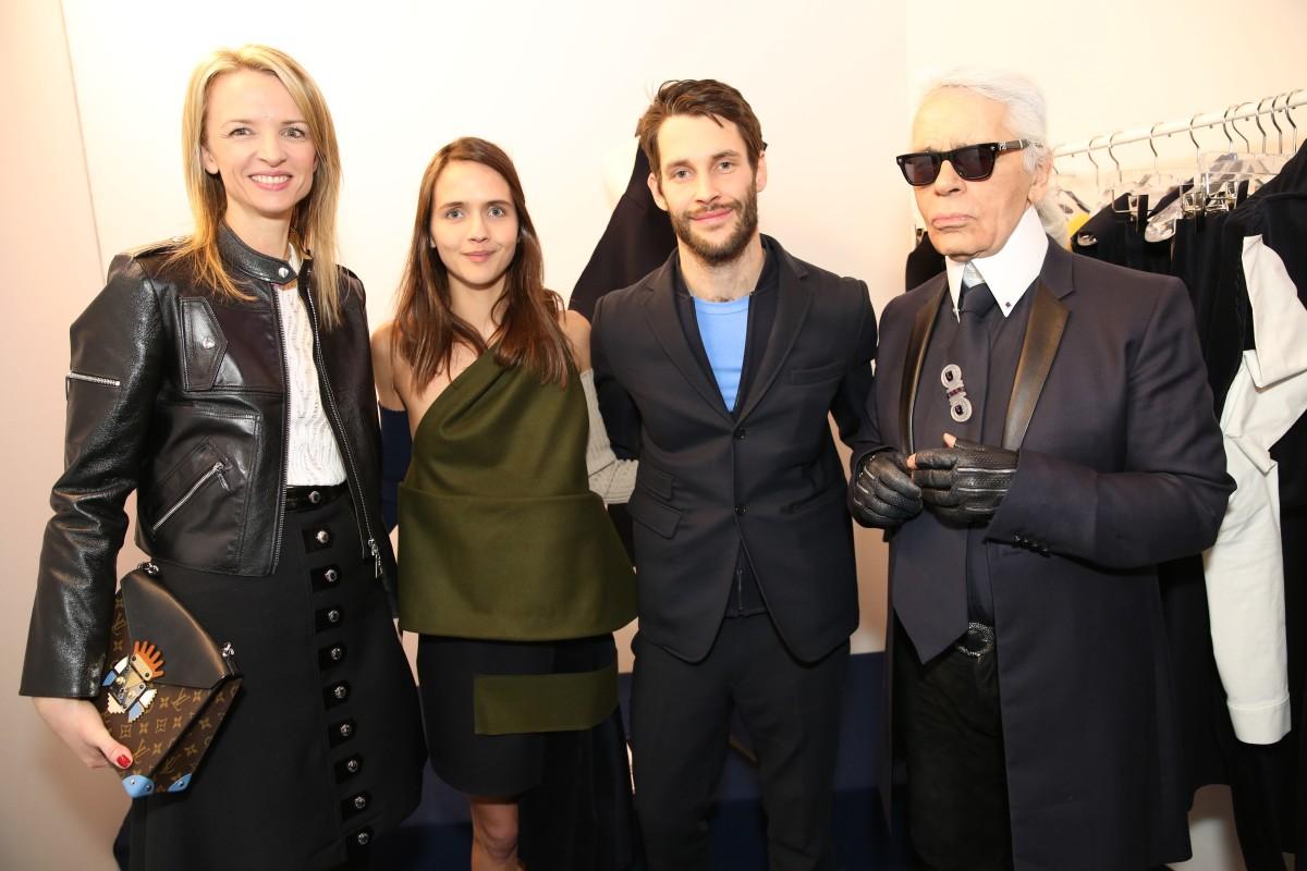 Delphine Arnault and Karl Lagerfeld with LVMH Prize finalist Simon Porte Jacquemus. Photo: Saskia Lawaks