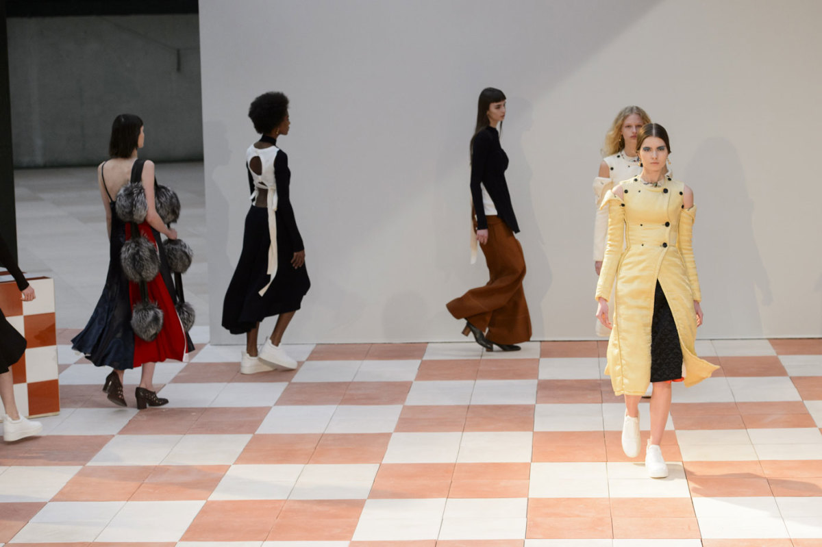 The finale at Céline's fall 2015 collection show. Photo: Imaxtree