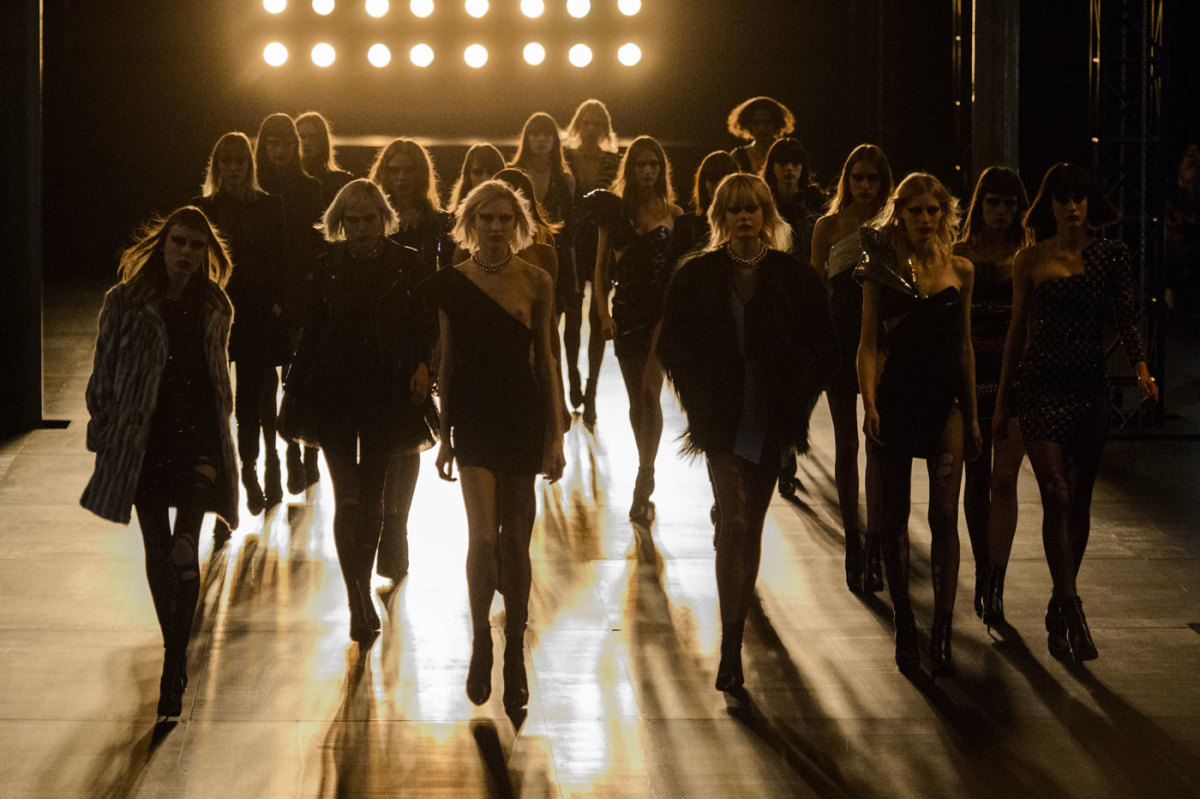 The finale of the Saint Laurent spring 2015 runway show. Photo: Imaxtree