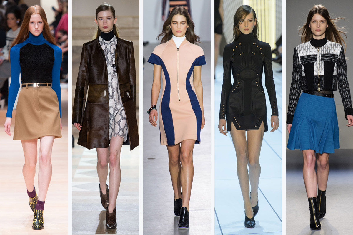 From left to right: Carven, Sharon Wauchob, Cedric Charlier, Mugler and Roland Mouret. Photos: Imaxtree