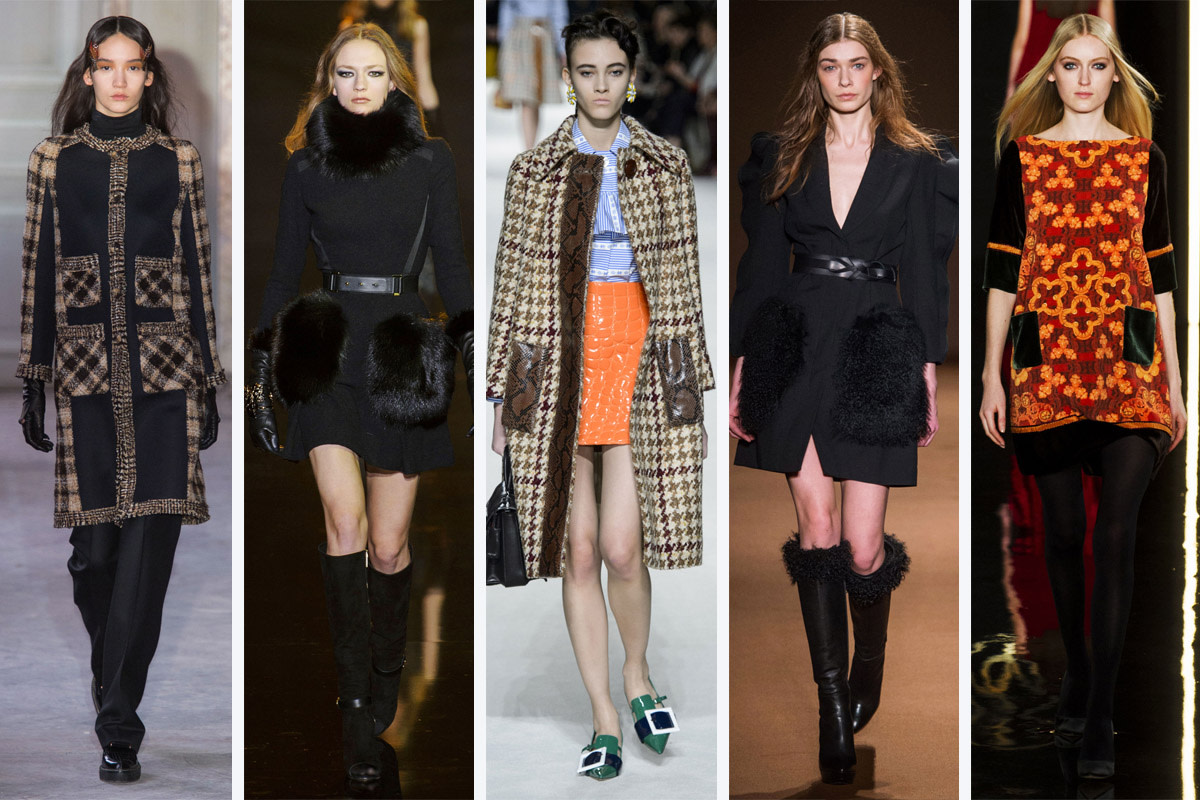 From left to right: Veronique Branquinho, Elie Saab, Miu Miu, Andrew Gn and Valentin Yudashkin. Photos: Imaxtree