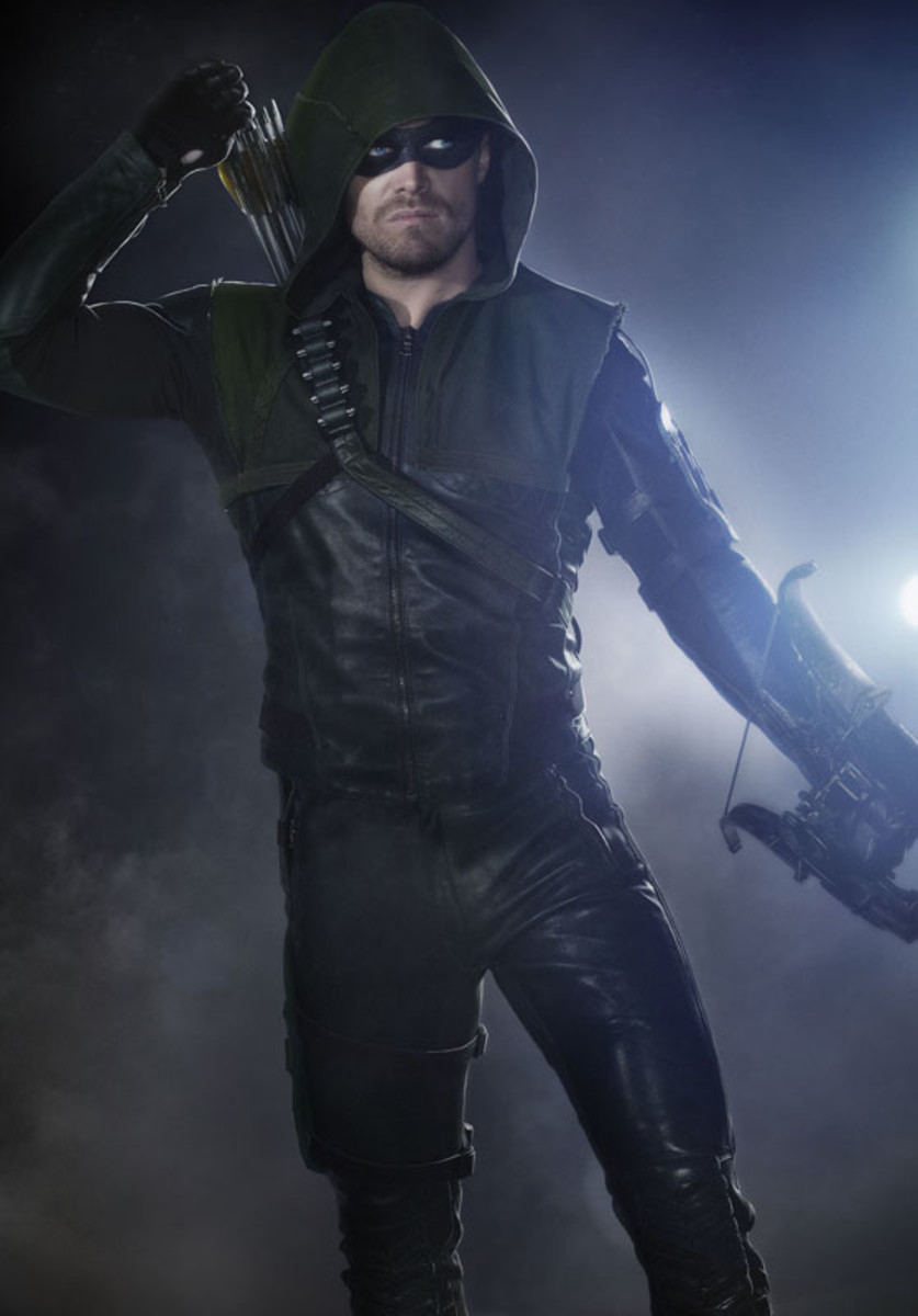 Stephen Amell encased in Oliver Queen's Arrow costume. Photo: Jordon Nuttall/The CW
