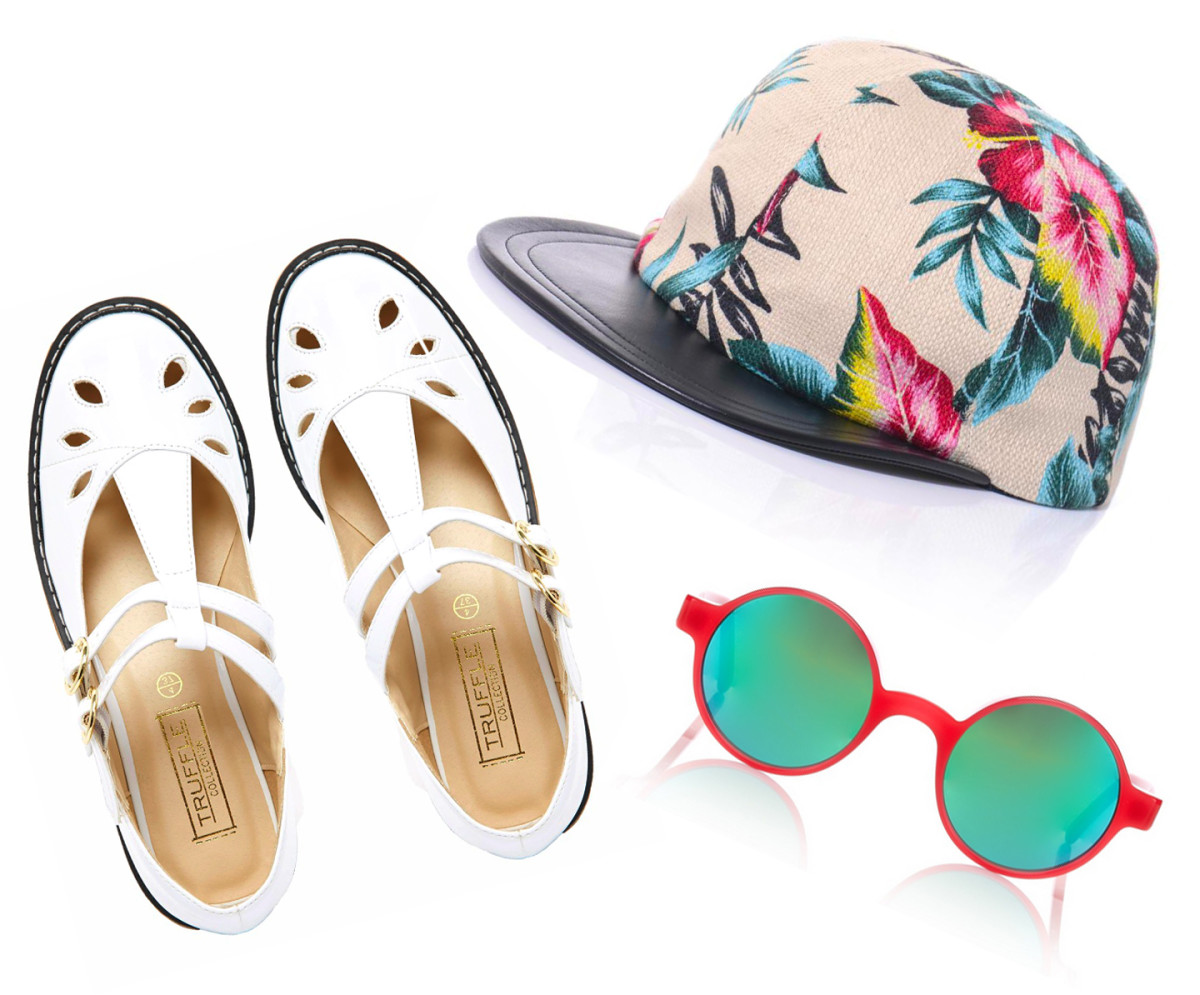 Truffle Collection shoes, $50 (from $76), available at ASOS. Eugenia Kim Hat, $56 (from $190), available at MatchesFashion. Andy Wolf Sunglasses, $100 (from $335), available at Avenue32.