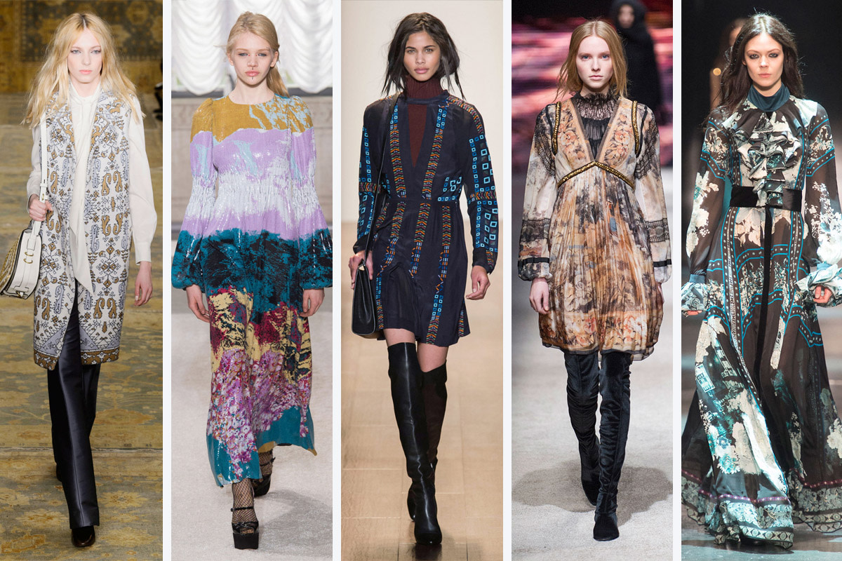 From left to right: Tory Burch, Giamba, BCBG Max Azria, Alberta Ferretti and Roberto Cavalli. Photos: Imaxtree