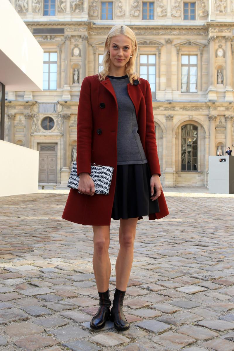 Aymeline Valade outside of the Dior show in Paris. Photo: Antonio de Moraes Barros Filho/Getty