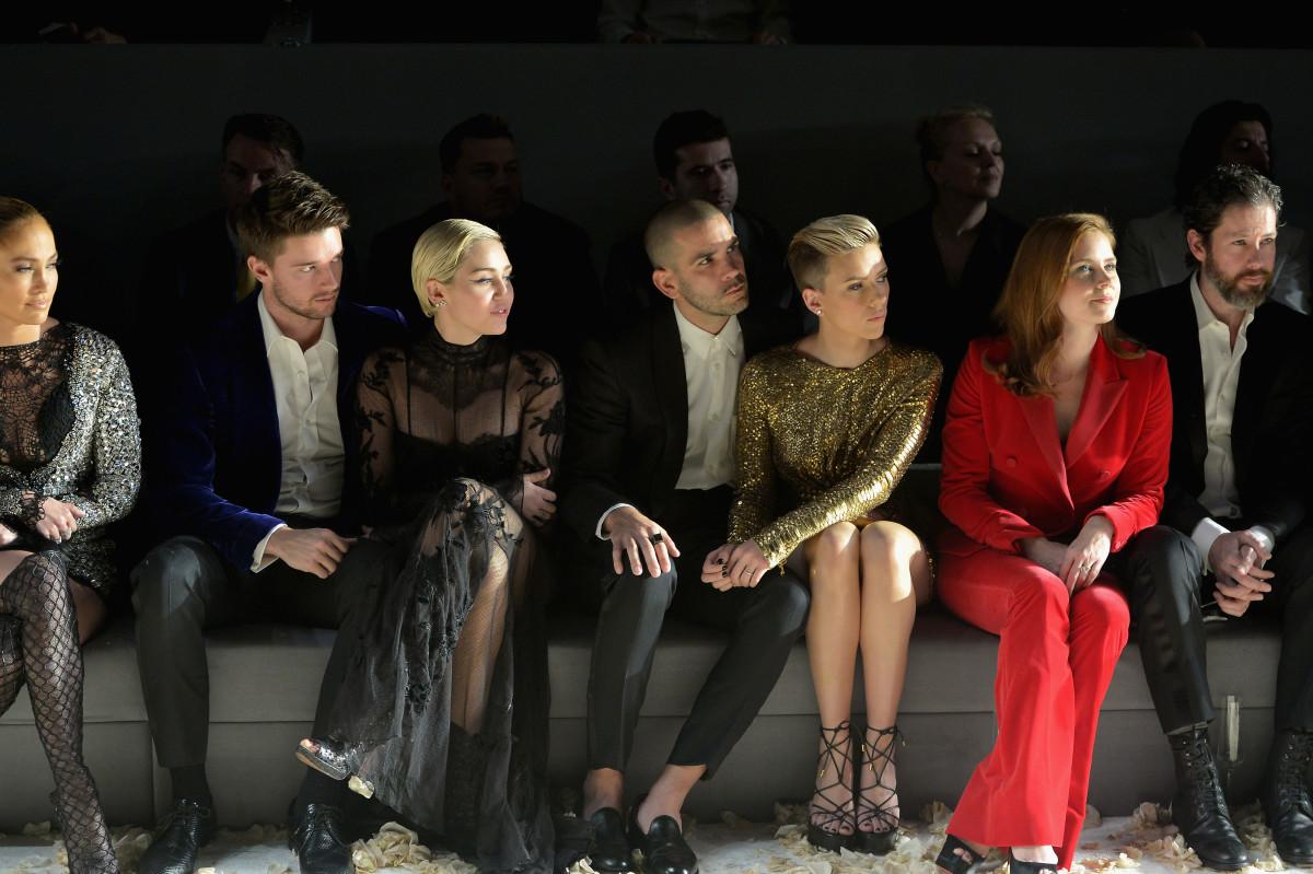 Jennifer Lopez, Patrick Schwarzenegger, Romain Dauriac, Scarlet Johansson, Amy Adams and Darren Le Gallo. Photo: Charley Gallay/Getty Images