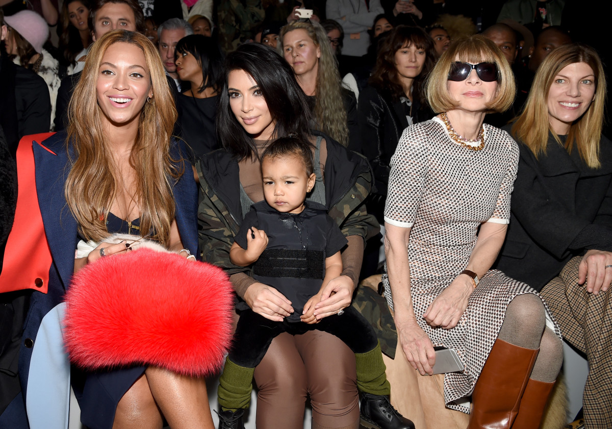 Beyoncé, Kim Kardashian, North West, Anna Wintour and Virginia Smith. Photo: Dimitrios Kambouris/Getty Images