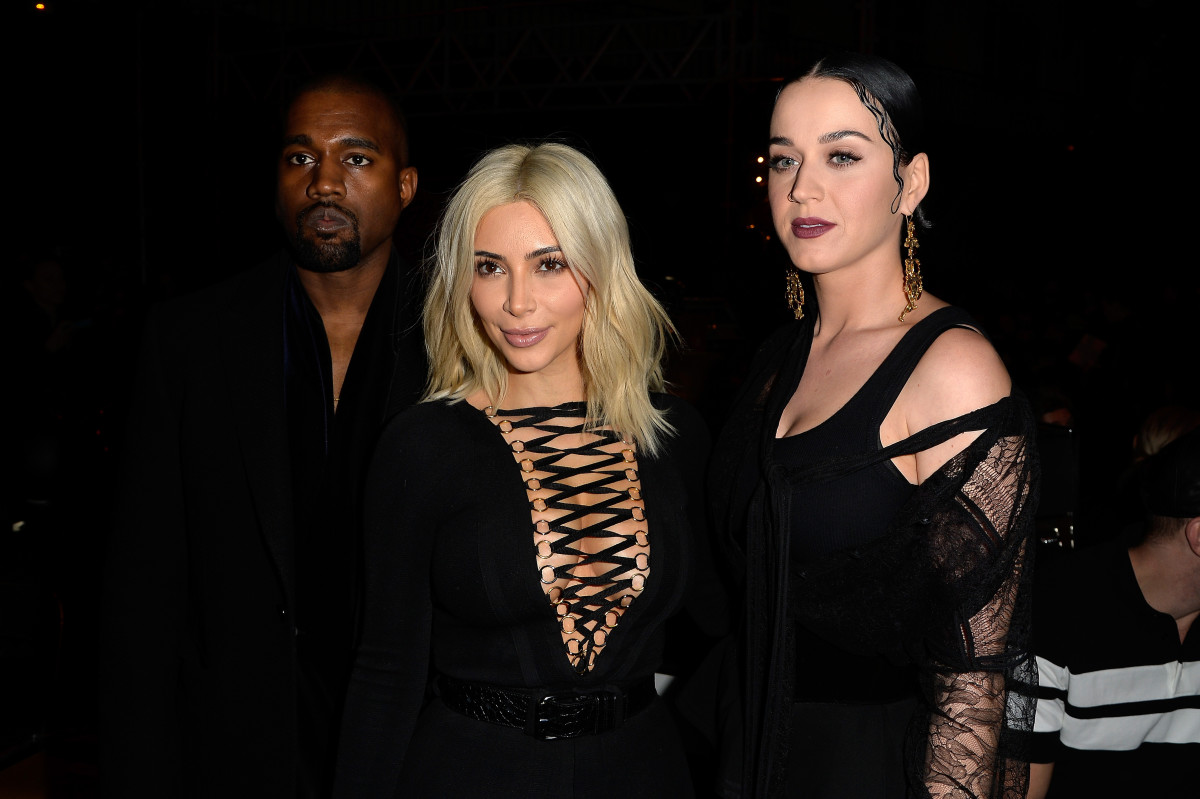 Kanye West, Kim Kardashian and Katy Perry. Photo: Pascal Le Segretain/Getty Images