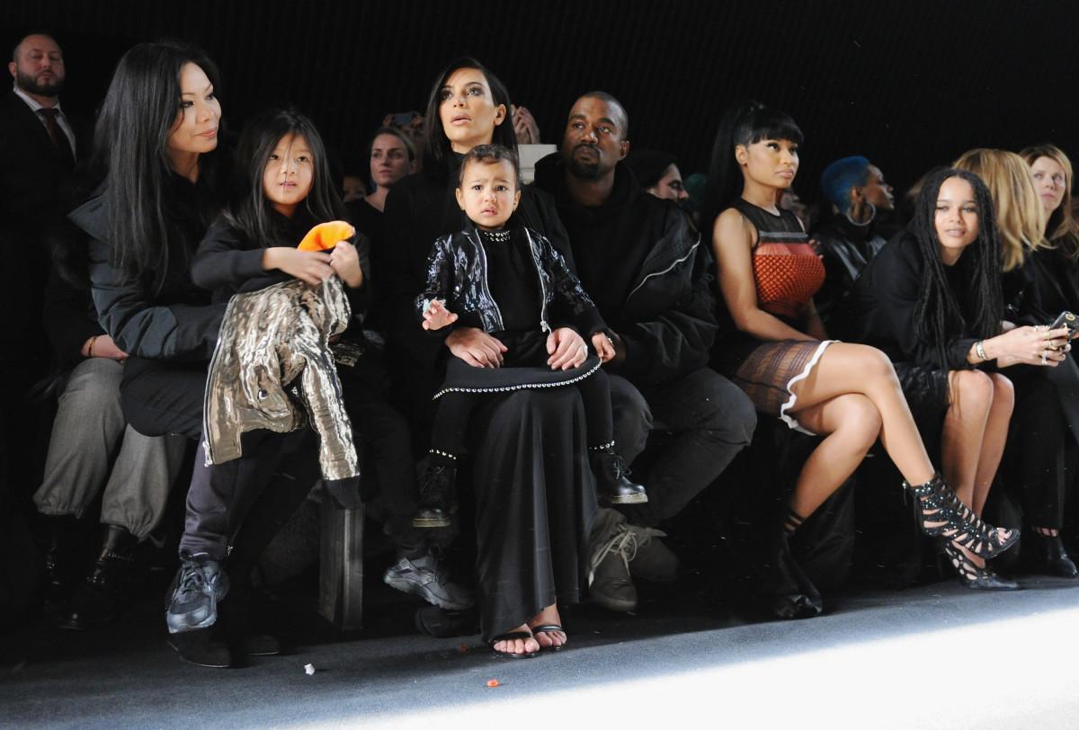 Kim Kardashian, North West, Kanye West and Nicki Minaj. Photo: Craig Barritt/Getty Images