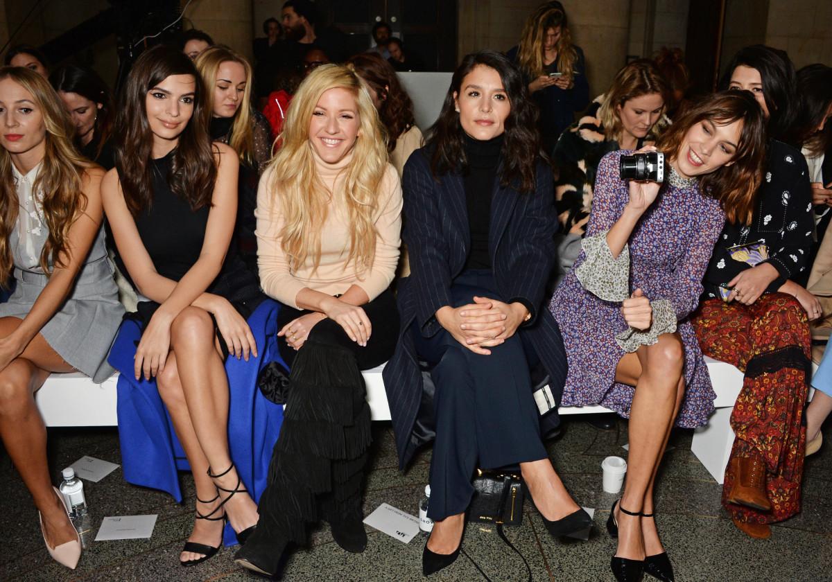Harley Viera-Newton, Emily Ratajkowski, Ellie Goulding, Daisy Lowe and Alexa Chung. Photo: David M. Benett/Getty Images