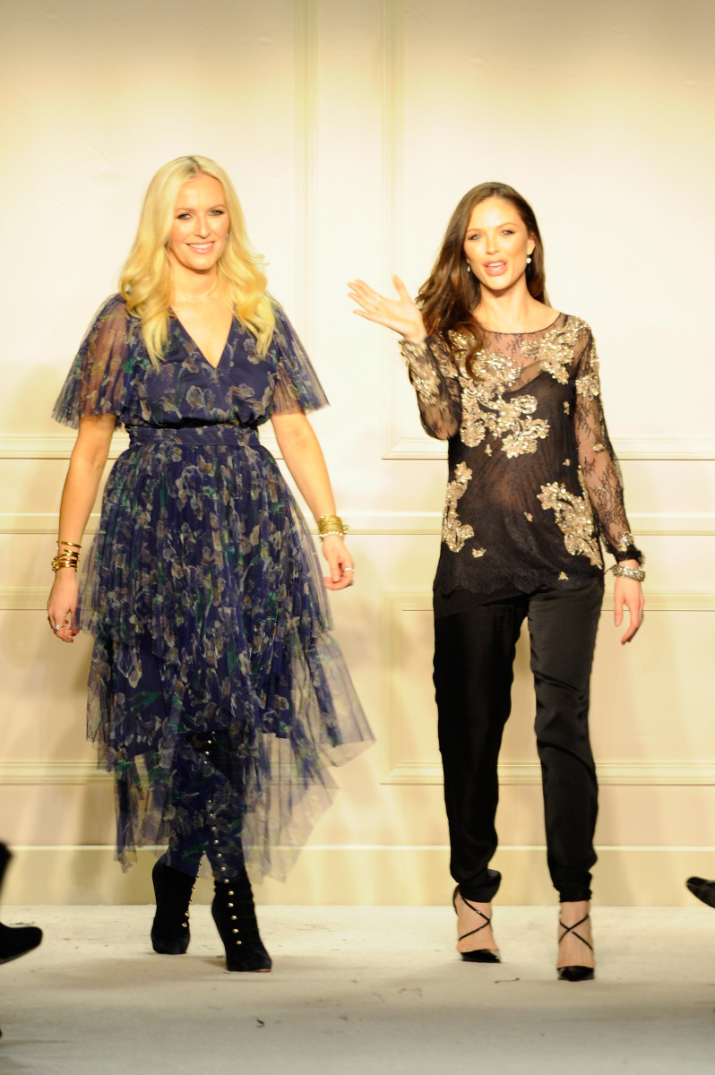 Keren Craig and Georgina Chapman at the Marchesa fall 2015 show. Photo: Arun Nevader/Getty Images