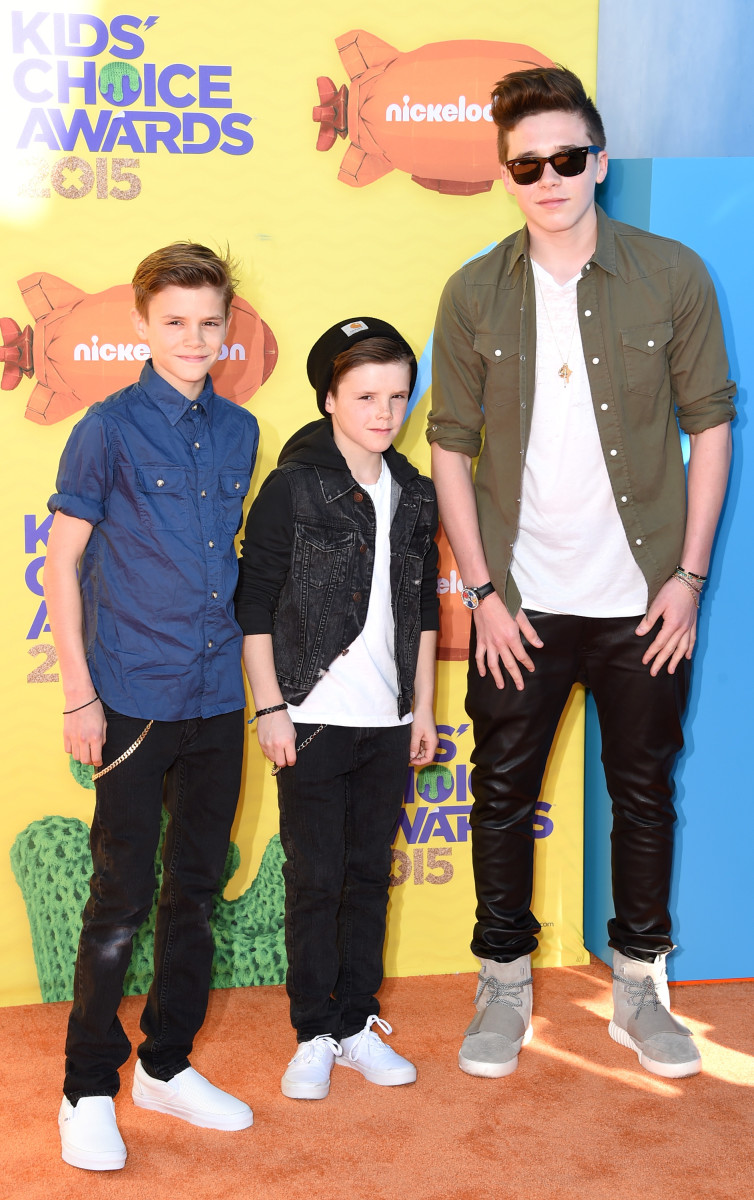 Romeo, Cruz and Brooklyn Beckham enjoy a parent-free night at the Nickelodeon Kids' Choice Awards. Photo: Steve Granitz/Getty Images