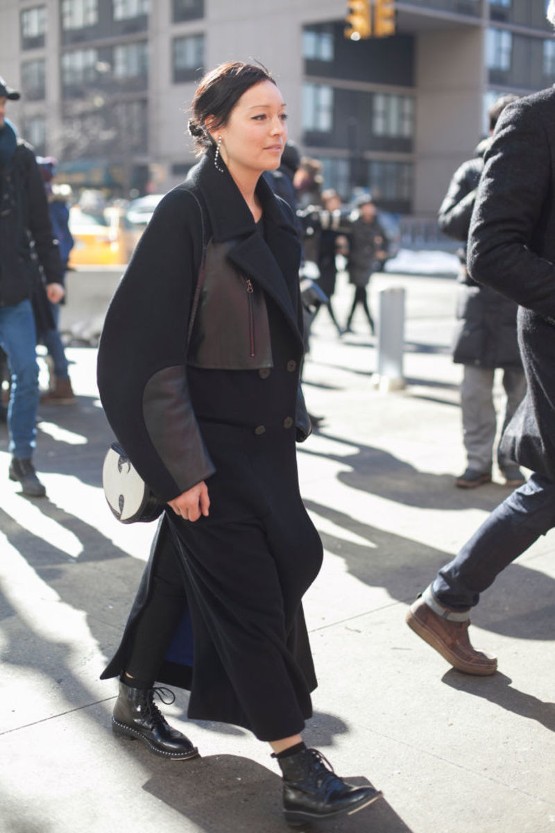 Rachael Wang at New York Fashion Week in February 2015. Photo: Emily Malan/Fashionista