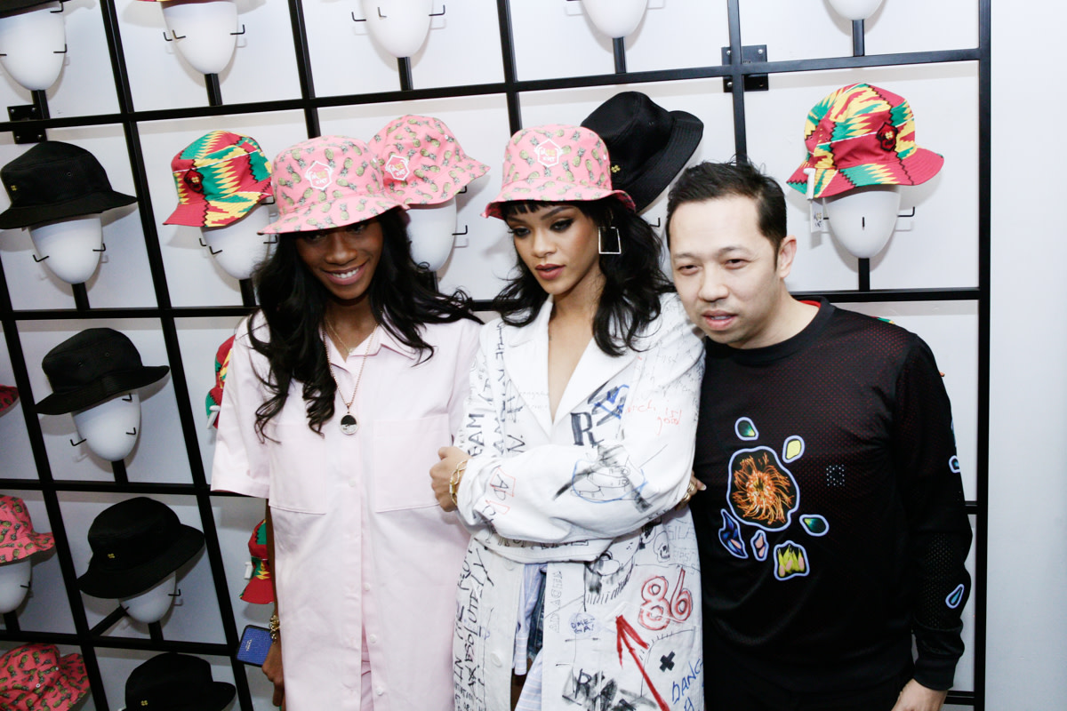 Melissa Forde, Rihanna and Humberto Leon at Opening Cermony on Monday night celebrate the launch of M$$ X WT. Photo: Opening Ceremony