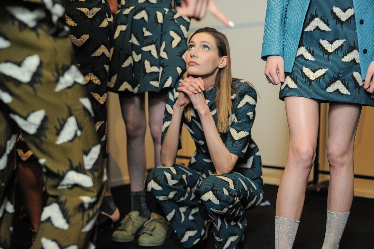 Models backstage at Yasya Minochkina's fall 2015 runway show. Photo: Mercedes Benz Fashion Week Russia