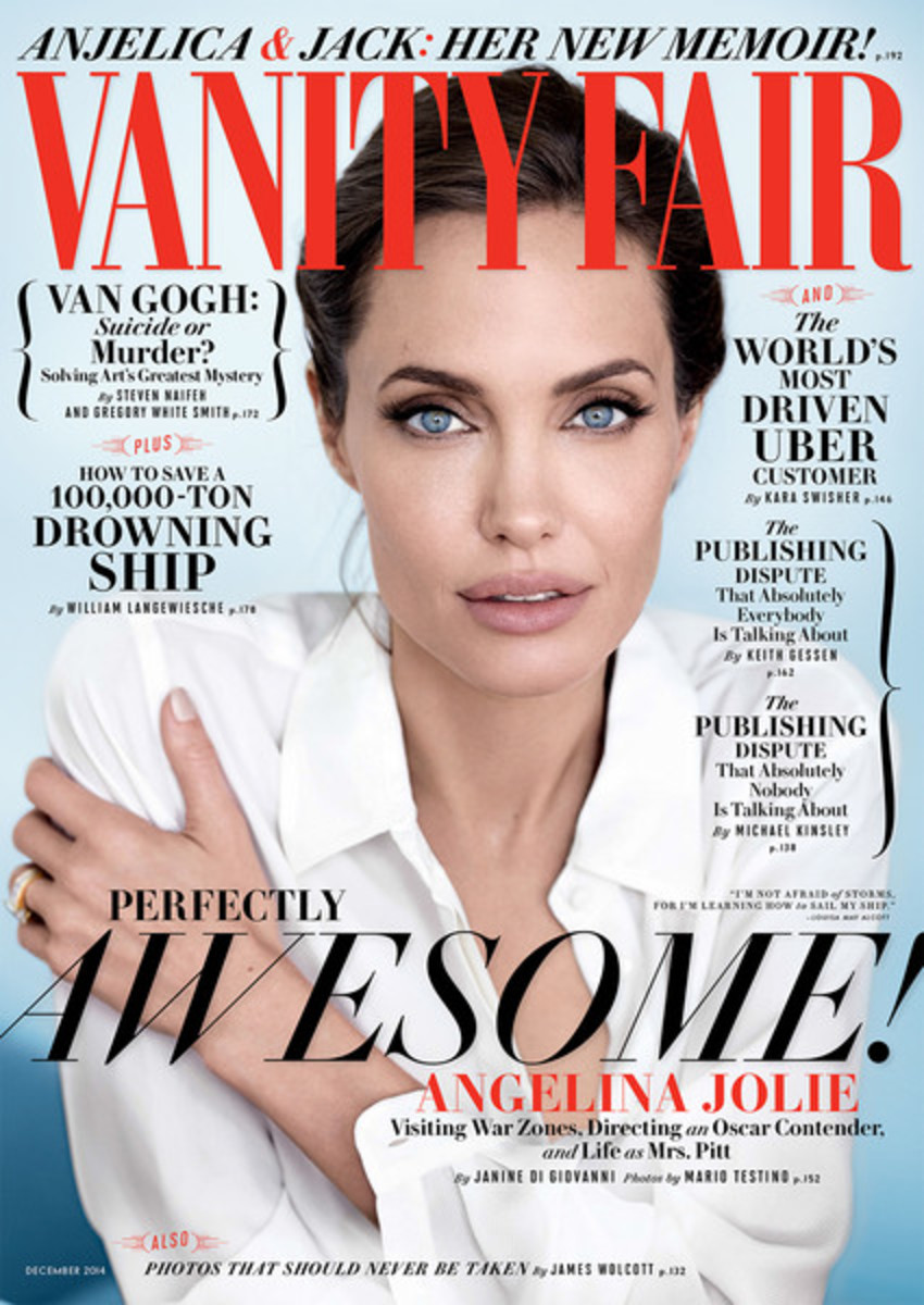 Angelina Jolie photographed by Mario Testino for the December 2014 issue of Vanity Fair. Photo: Vanity Fair