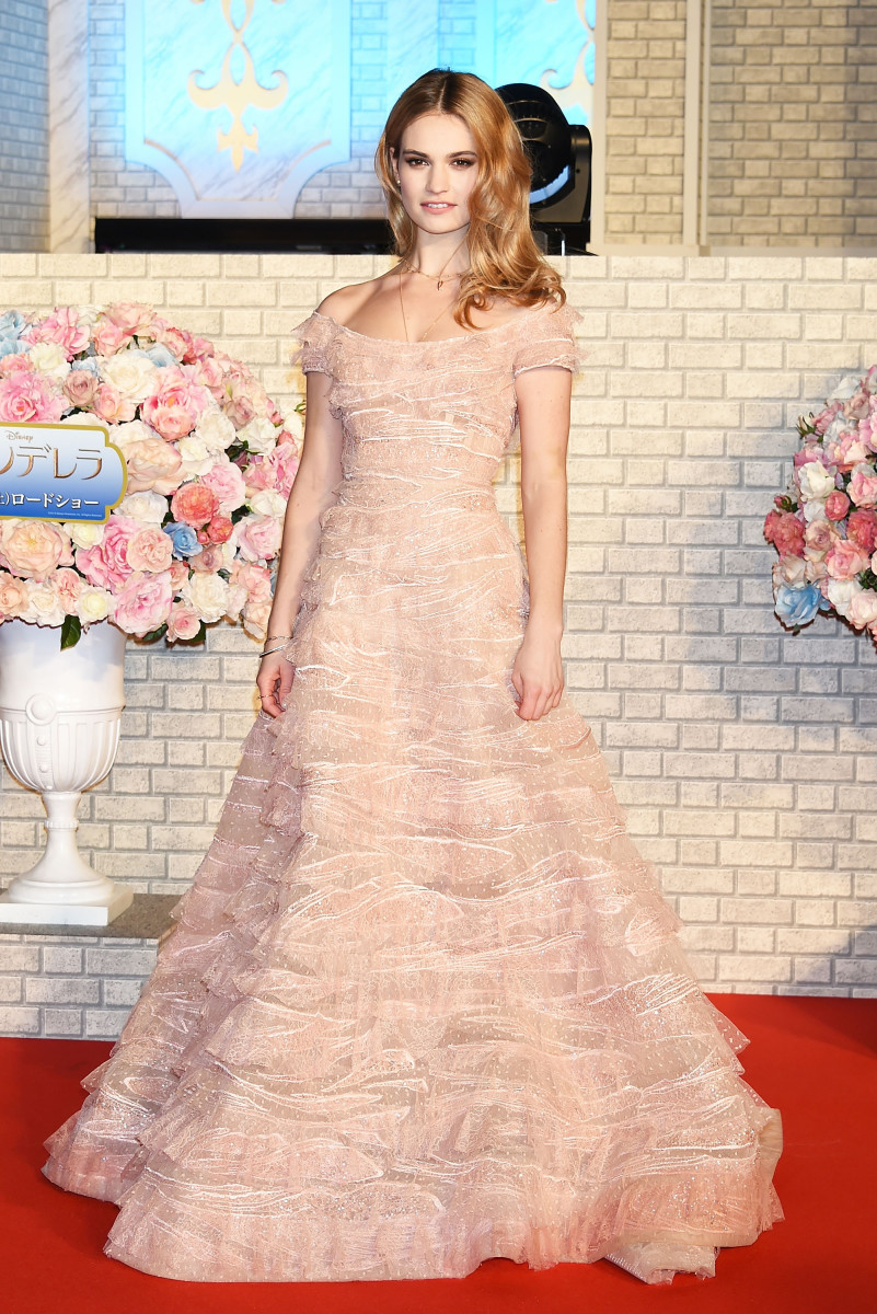 Lily James having a major red carpet moment in Elie Saab at the Tokyo premiere. Photo: Jun Sato/WireImage