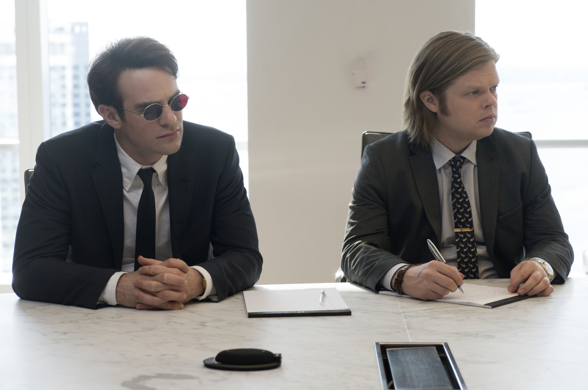 Charlie Cox in his Black Fleece shirt and Paul Smith suit as Matt Murdock and Elden Henson in a funky tie, vintage tie clip and Ted Baker suit as Foggy Nelson. Photo: Barry Wetcher/Netflix, Inc.