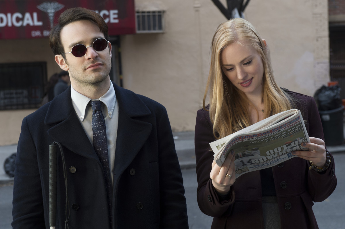 Charlie Cox as Matt Murdock and Deborah Ann Woll as Karen Page. Photo: Barry Wetcher/Netflix, Inc.