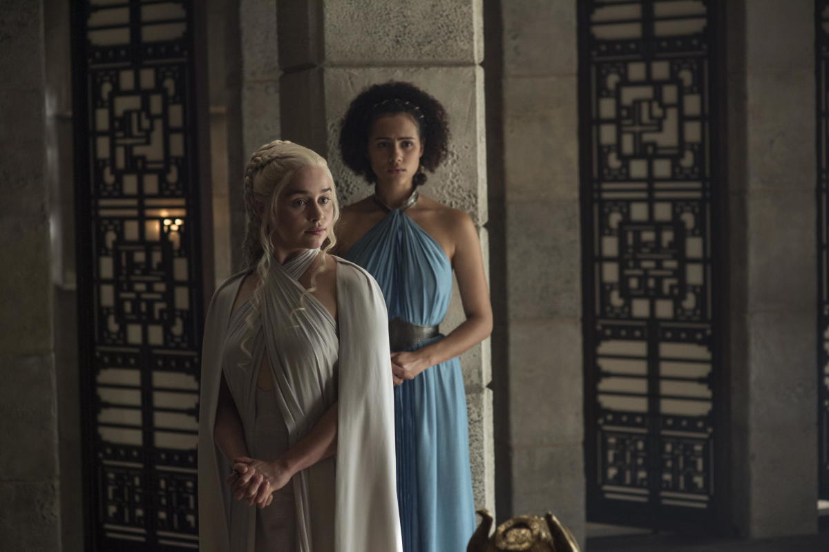 Daenerys and Missandei still coordinate their necklines. Photo: Macall B. Polay/HBO