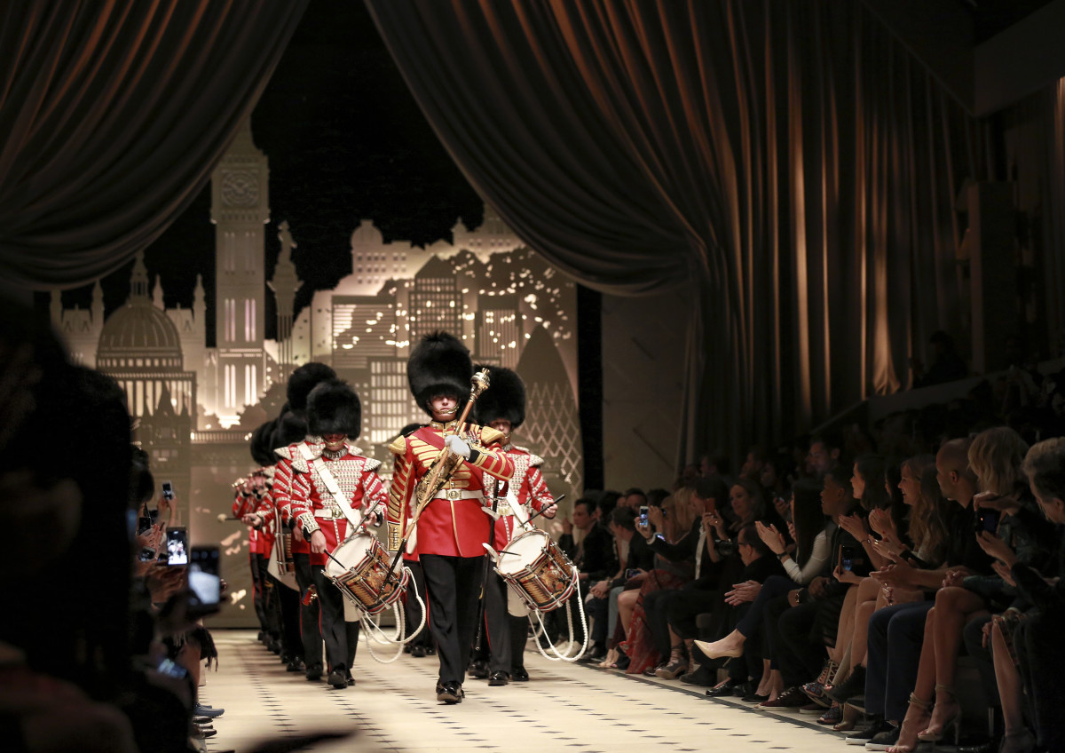 The First Battalion Grenadier Guards on the Burberry runway. Photo: Burberry