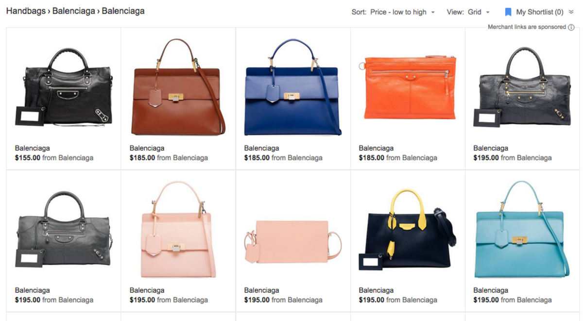 The mispriced Balenciaga bags can still be seen on Google Shopping. Screengrab: Google