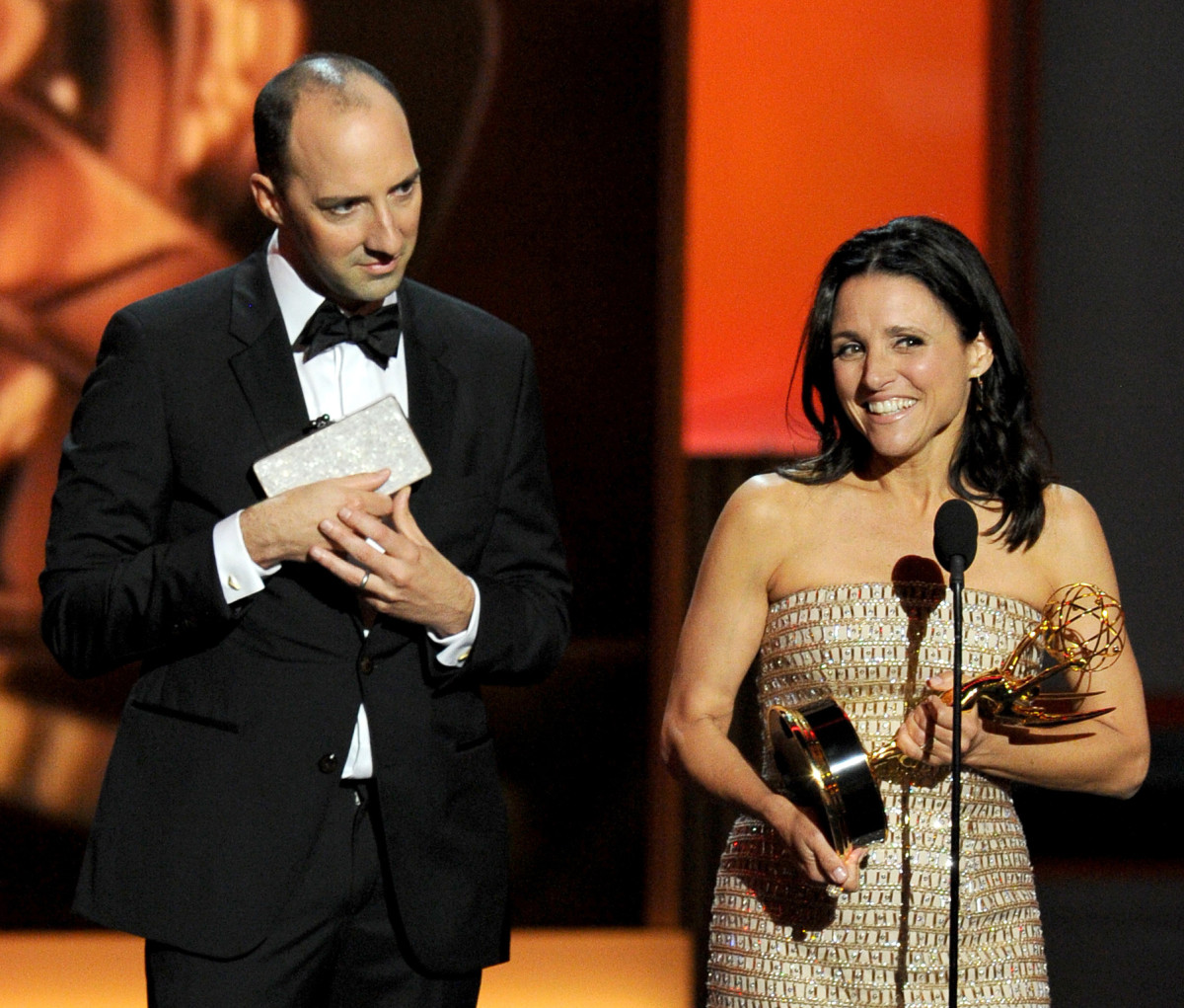 Tony Hale channels his 'Veep' character by holding Julia Louis-Dreyfus' Edie Parker clutch on stage at the Emmy's in 2013. Photo: Kevin Winter/Getty Images