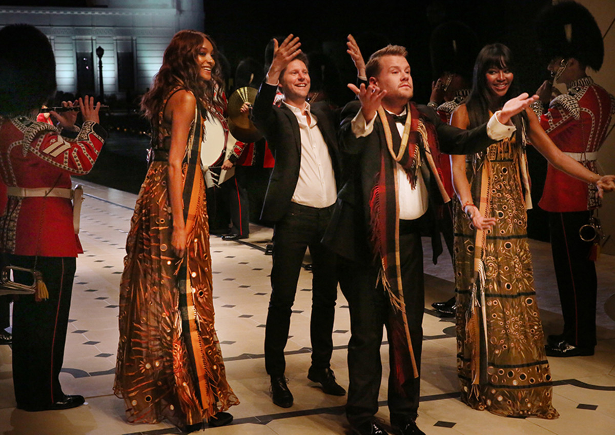 Jourdan Dunn, Christopher Bailey, James Corden and Naomi Campbell on the runway. Photo: Burberry