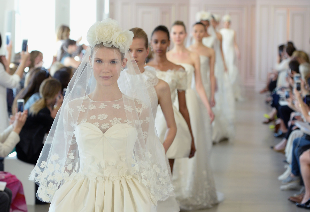 The final walk at Peter Copping's debut bridal collection for Oscar de la Renta. Photo: Slaven Vlasic/Getty Images