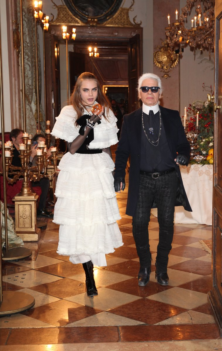 Cara Delevingne and Karl Lagerfeld at Chanel's 2015 Metiers d'Art Collection show. Photo: Gisela Schober/Getty Images
