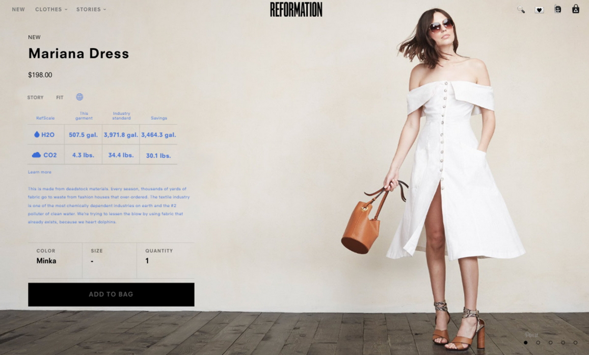 "A look at Reformation's new ""Refscale"" page. Photo: Courtesy."