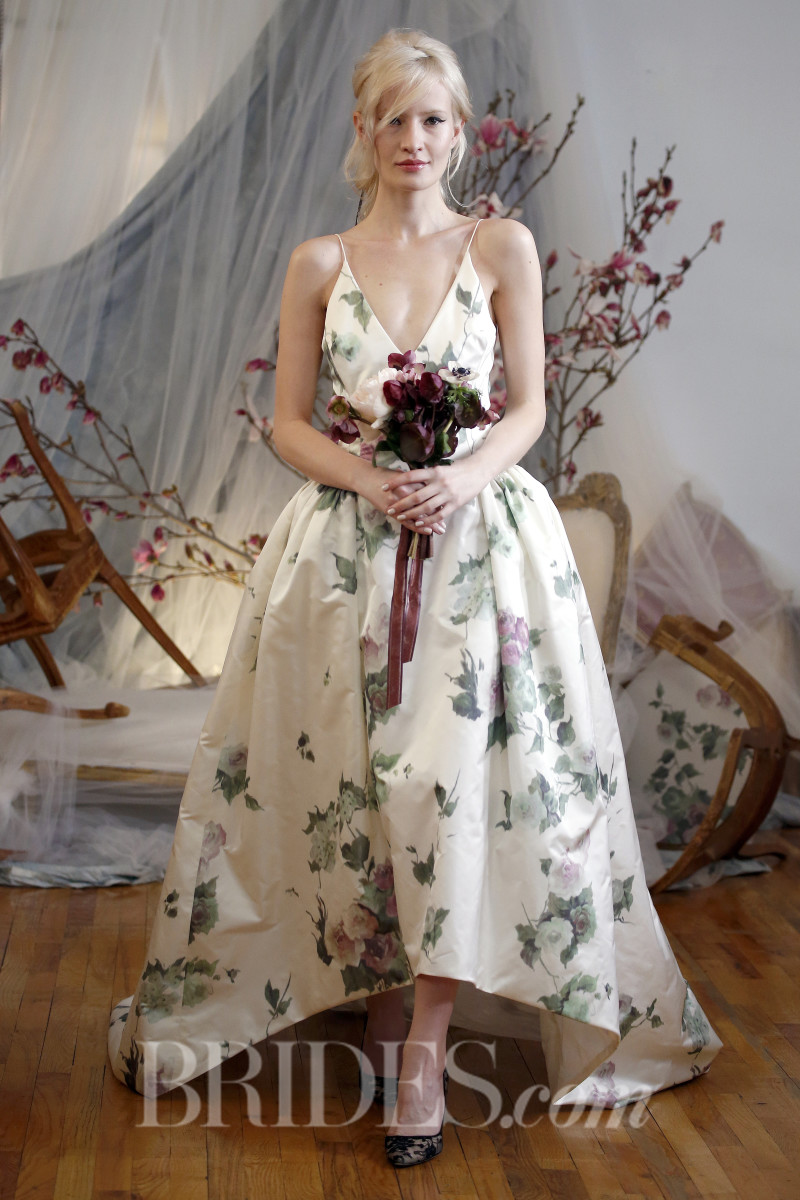 "A ""rose garden""-printed dress from the Elizabeth Fillmore spring 2016 bridal collection. Photo: Brides/Indigitalimages.com"