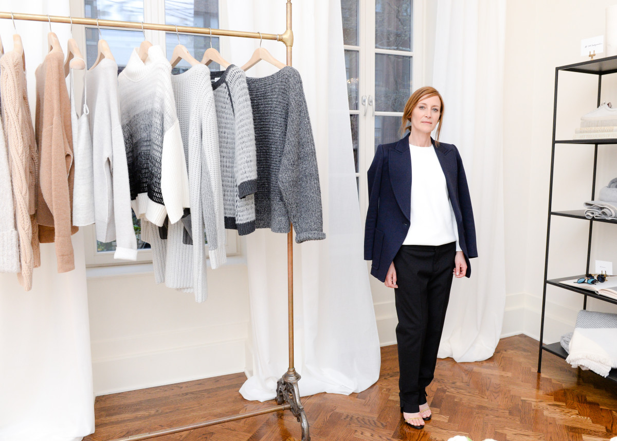 Creative director Caroline Belhumeur in front of a rack of cashmere. Photo: BFA