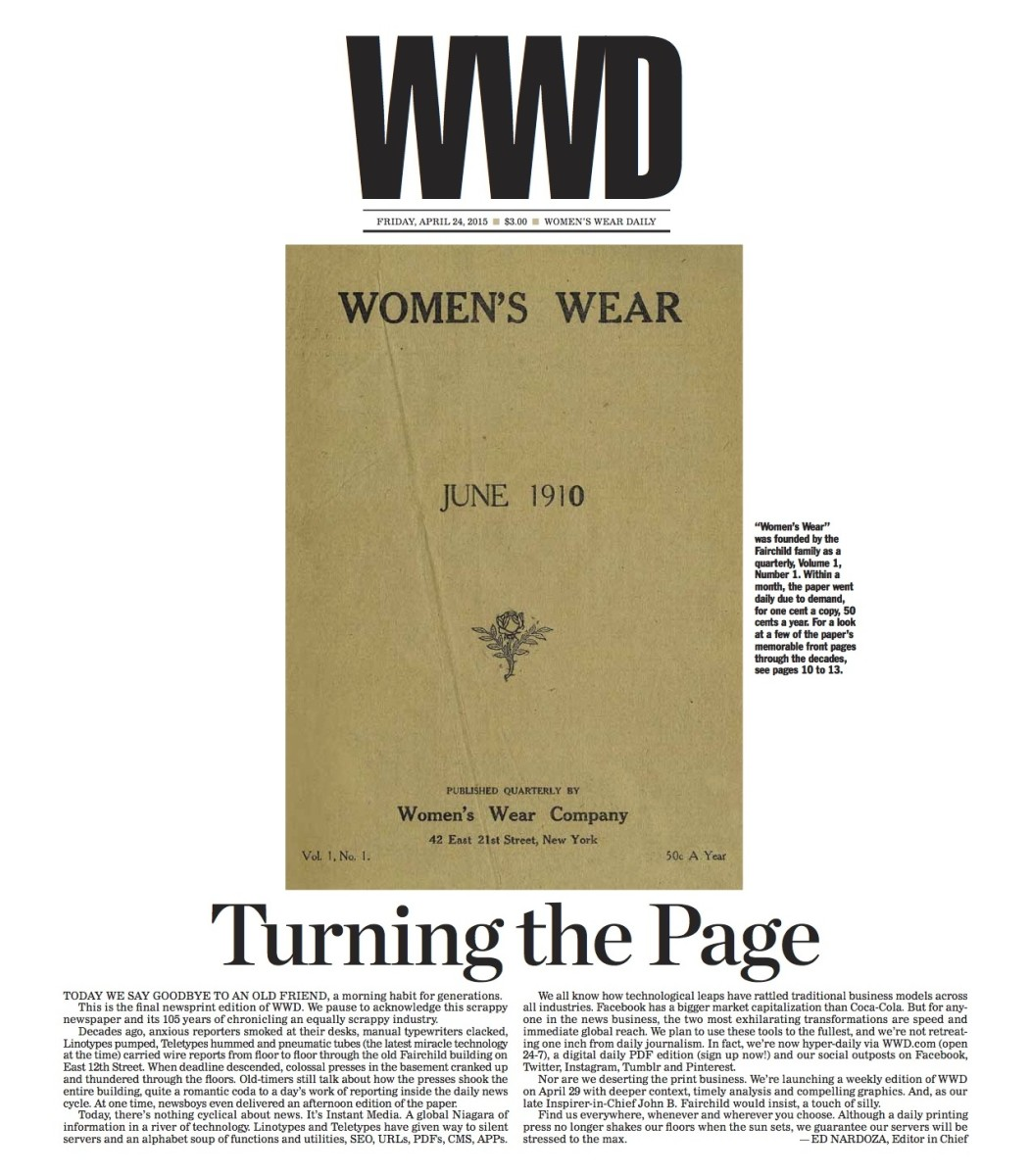 The front page of WWD's final daily print issue, via PDF